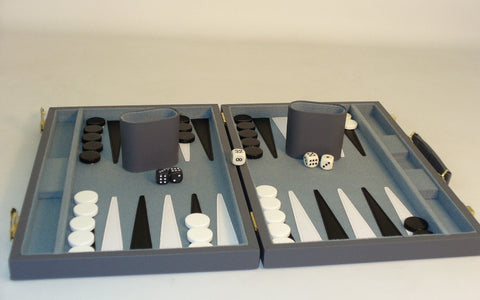 "18"" Grey Vinyl Backgammon - ChessWarehouse"