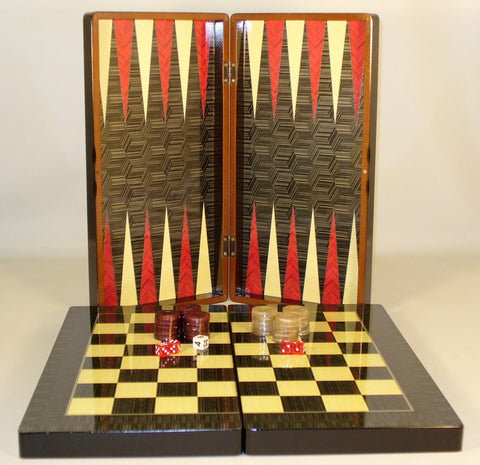 "19"" Black Geometric Decoupage Backgammon - ChessWarehouse"