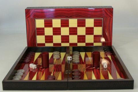 Red Wood Grain Decoupage Backgammon - ChessWarehouse