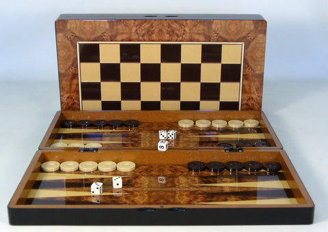 Burlwood Decoupage Backgammon - ChessWarehouse