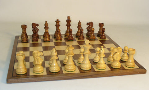 Sheesham Lardy Classic on Walnut Board - ChessWarehouse