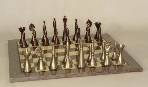 Brass Art Deco on Grey Briar Board - ChessWarehouse