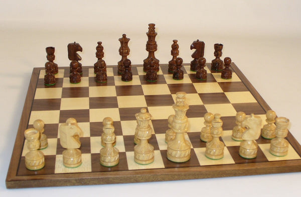 Sheesham Royal Carved Chess Set - ChessWarehouse
