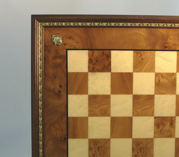 Elm Chess Board with Gold Trim - ChessWarehouse