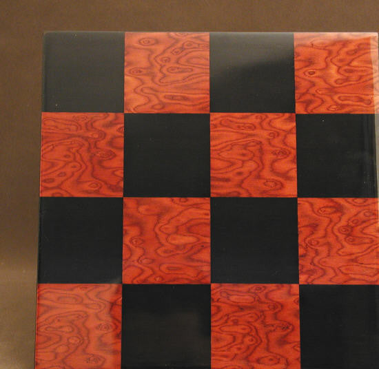 "15.75"" Black and Red Briar Glossy Board - ChessWarehouse"