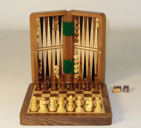 "7"" Folding Wood Magnetic Chess & Backgammon - ChessWarehouse - 1"
