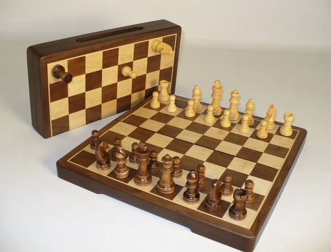 "12"" Folding Wood Magnetic Chess - ChessWarehouse"