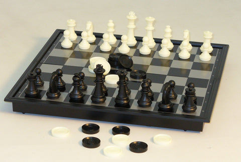 "10"" Magnetic Chess with Checkers - ChessWarehouse - 1"