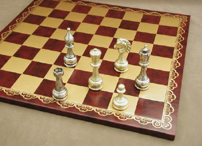 Large Metal Staunton on Leather Board - ChessWarehouse