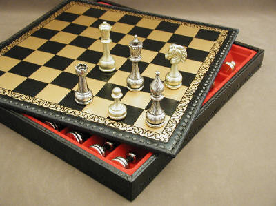 Large Metal Staunton on Leather Chest - ChessWarehouse - 1