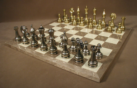 Large Metal Staunton on Grey Briar Board - ChessWarehouse - 1