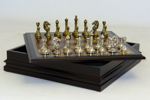 Metal Staunton in Wood Chest - ChessWarehouse - 1