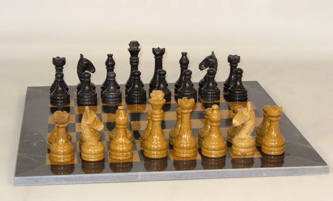 New Black and Golden Marble Set - ChessWarehouse - 1