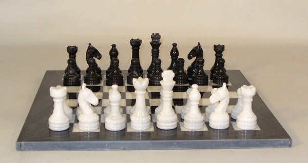 New Black and White Marble Set - ChessWarehouse - 1