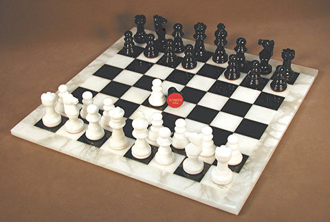 Black & White Alabaster Chess Set - ChessWarehouse - 1