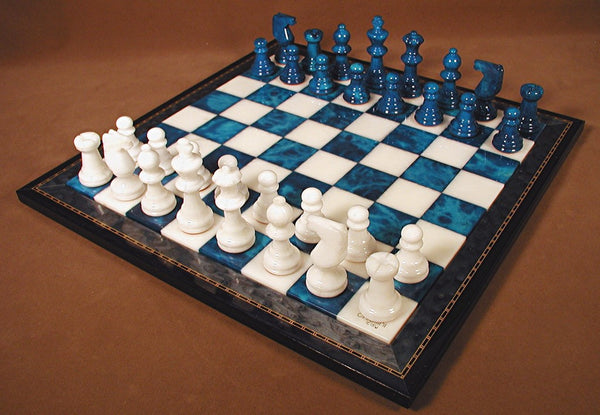 Blue & White Alabaster Wood Frame Set - ChessWarehouse