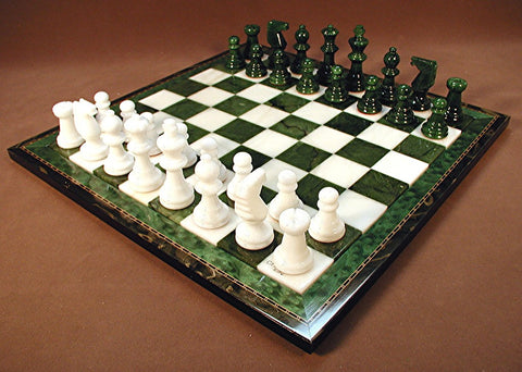 Green & White Alabaster Wood Frame Set - ChessWarehouse