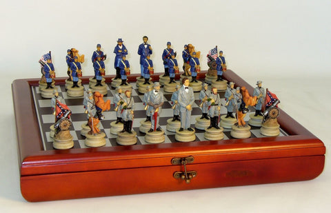 Civil War General Set on Wood Chest - ChessWarehouse