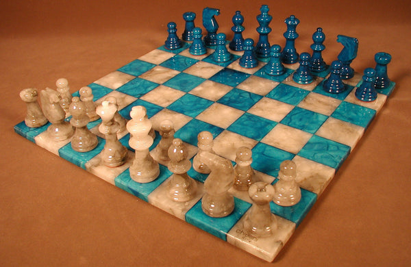Blue & Grey Basic Alabaster Set - ChessWarehouse