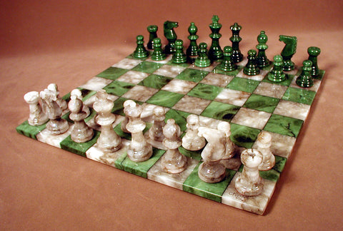 Green & Grey Basic Alabaster Set - ChessWarehouse