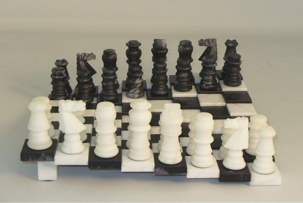 Black & White Tiered Alabaster Set - ChessWarehouse - 1