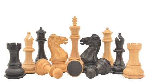 "Triple Weighted Staunton Series 4"" King Hand Carved Wooden Chess Pieces in Ebonized Boxwood & Natural Boxwood with 4.0"" King and Double Queens"