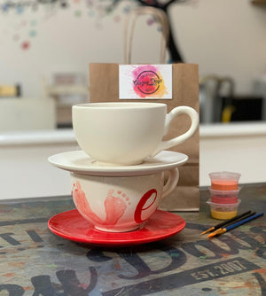 Cappuccino Mug and Saucer- Paint at home kit