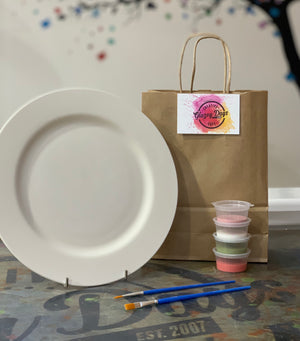 Large rimmed plate- Paint at home kit