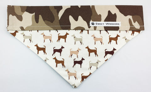 Bandana - brown/white camo with dogs