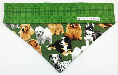 Bandana - green checkered/green with dogs