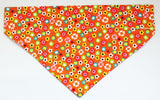 Bandana - orange/dark pink with flowers