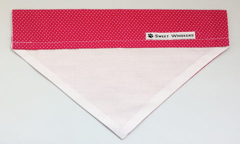 Bandana - dark pink/white with white polka dots