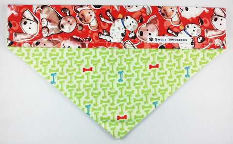 Bandana - red/green with puppies and bones pattern