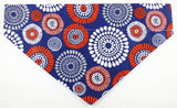 Bandana - red/blue patterns with white polka dots