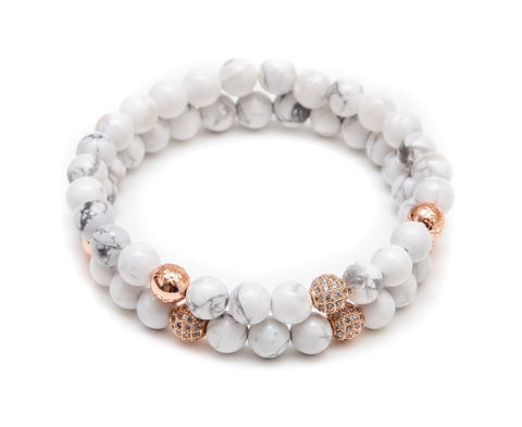 white marble, white bracelets, white beaded bracelets, white and rose gold jewelry, white marble fashion trend