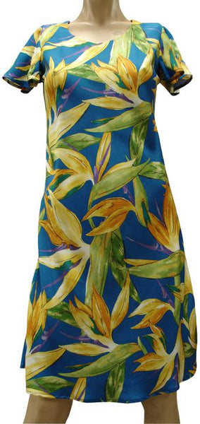 Watercolor Birds of Paradise A - Line Dress with Sleeves - Twisted Palms Trading Company Online Beach Shop