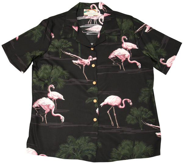 Flamingo Black Hawaiian Shirt Rayon for Ladies - Twisted Palms Trading Co.