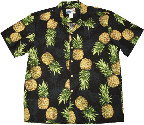 Paradise Found Pineapple Maui Men's Hawaiian Shirt Black - Twisted Palms Trading Company Online Beach Shop