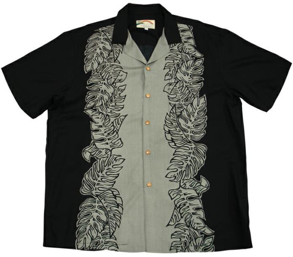 Black/Gray Monstera Panel Hawaiian Shirt - Twisted Palms Trading Co.