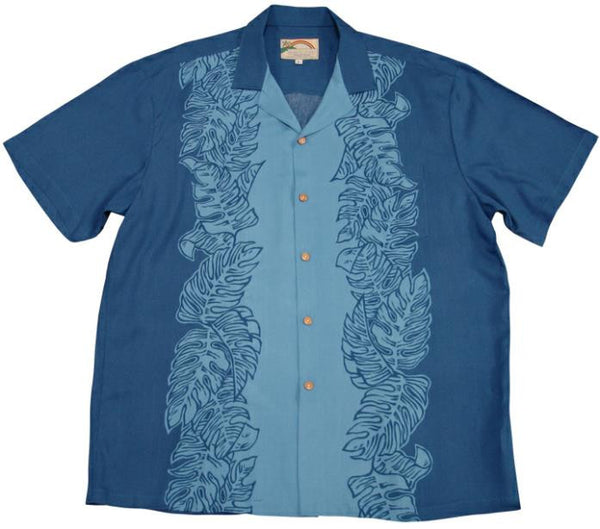 Blue/Light Blue Monstera Panel Hawaiian Shirt - Twisted Palms Trading Co.