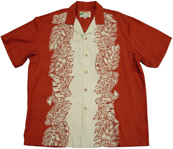 Red/Cream Monstera Panel Hawaiian Shirt - Twisted Palms Trading Co.