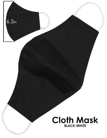 Cloth Face Mask Solid Black Color