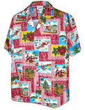 Hawaii Tapa Christmas Shirt Red Close Up - Twisted Palms Trading Co.