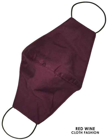 Cloth Face Mask Solid Red-Wine Color