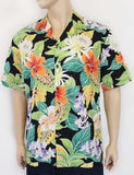 Tropical Forest Mirage Aloha Shirt - Black