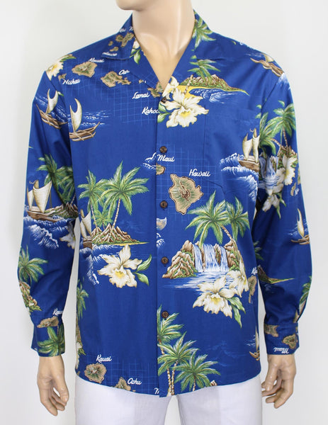 Hawaii Islands Long Cotton Shirt - Twisted Palms Trading Co. Tiki Decor & Island Style Apparel