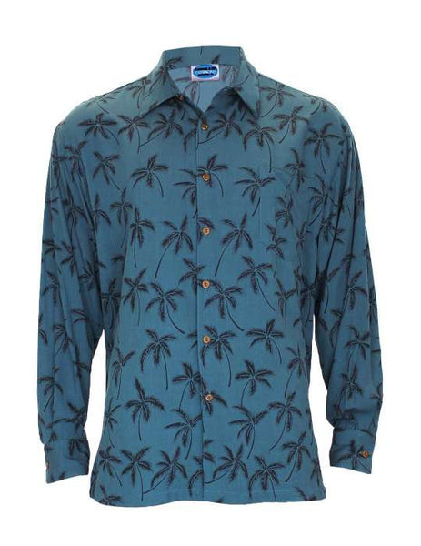 Long Sleeves Rayon Tropical Palms Hawaiian Shirt