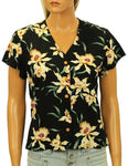 Star Orchid Hawaiian Rayon Blouse V-Neck