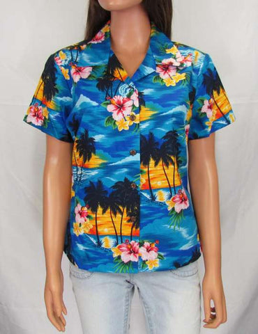 Sunset - Hawaii Style Women Fitted Blouse
