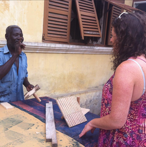 A little bit about the process of batik block printing with a batik artisan in Ghana